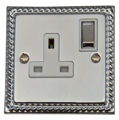 G&H MC209 Monarch Roped Polished Chrome 1 Gang Single 13A Switched Plug Socket